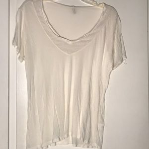 LF white net v-neck t-shirt